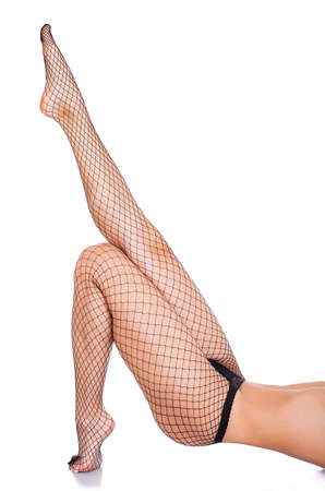 colorful stockings on sexy woman legs isolated on white photo