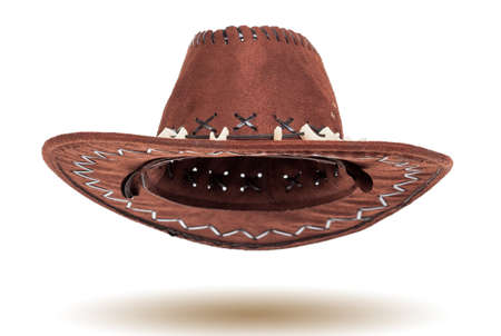 western attire: Leather cowboy hat isolated on white background Stock Photo