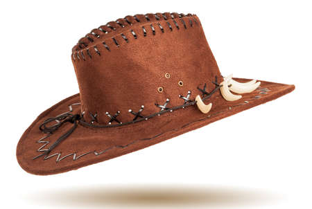 stetson: Leather cowboy hat isolated on white background Stock Photo