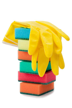 Group of kitchen sponges isolated on the white background photo