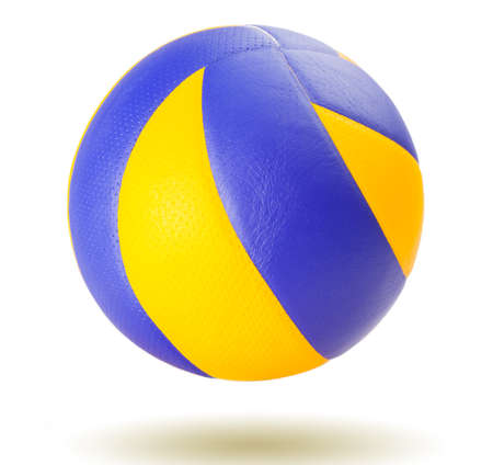 Blue and yellow volleyball on wooden floor Imagens