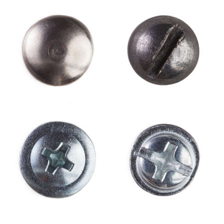 Screw heads, nuts, rivets  bolt  Isolated on wite  photo