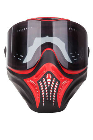 Red and black paintball mask with transparent goggles photo