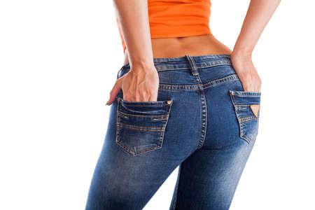 jeans apretados: culo mujeres bonitas 's en jeans ajustados en el fondo blanco Foto de archivo