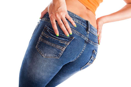 pretty women s ass in tight jeans on white background Stock Photo