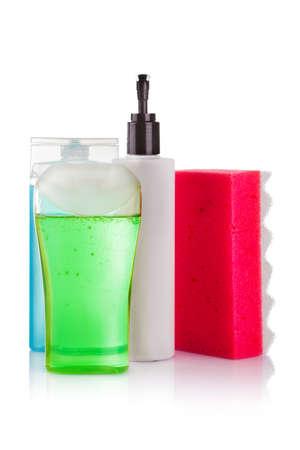 wisp: Douchegel en een sliert op een witte achtergrond Stockfoto