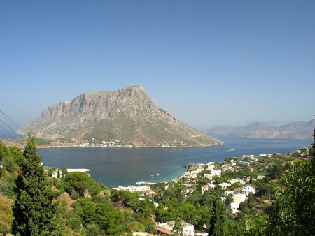 A view of Telendos island (Greece) from Kalymnos island Stock Photo - 492682