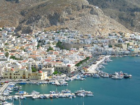 An aerial view of the port of Kalymnos, Greece