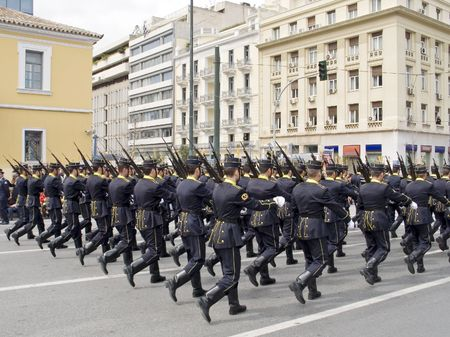 Future army officers marching during a military parade