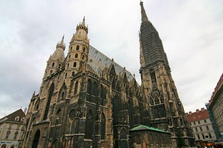 saint stephen cathedral: A wide-angle view of St. Stephen, the Cathedral of Vienna