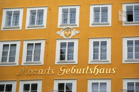 mozart: A part of the frontal face of the house where Mozart was born (Salzburg, Austria)