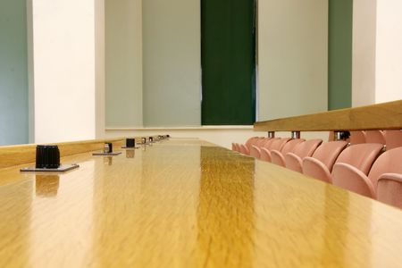 An empty seat row of a conference room