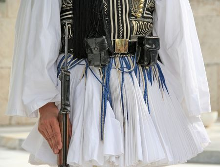 Details from the traditional costume of a presidential guard in Athens, Greece  photo