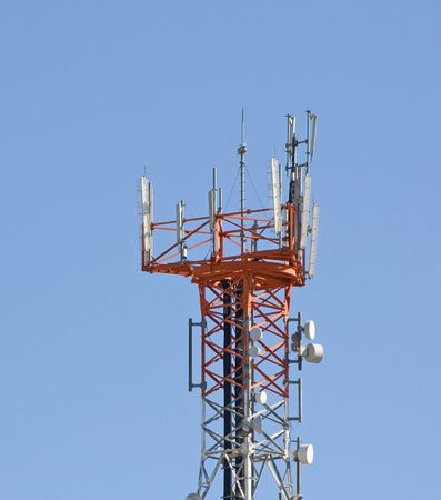 telephony: A station antenna of a mobile (cellular) telephony network Stock Photo