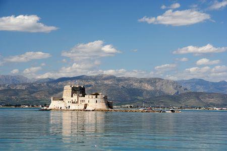 The castle island of Bourtzi, in Nafplio (Greece)