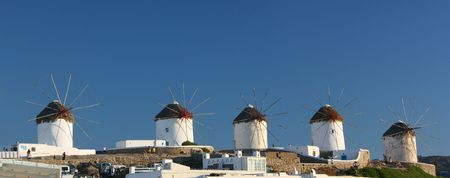The row of the Lower Windmills in Mykonos Island, Greece