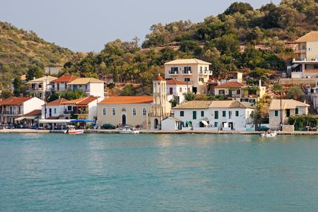 The port of Vathi, in the little island of Meganisi, close to Lefkada island (Ionian sea, Greece)
