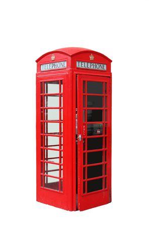 cabina telefono: La t�pica cabina telef�nica roja de Londres, Reino Unido Foto de archivo