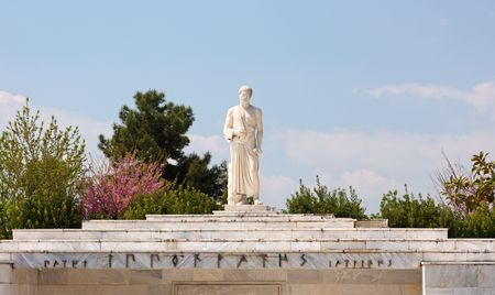 hippocratic: The statue of the father of Medicine, Hippocrates, at the place where he died, city of Larissa, Greece