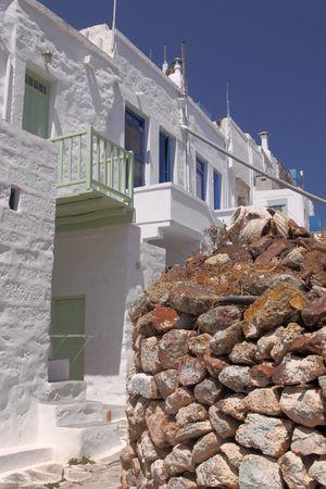 verandas: A spot of the castle area of the picturesque town of Kimolos, on the same-name island (Greece)
