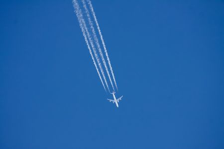 A jumbo airplane flying in high altitude Stock Photo - 6089236