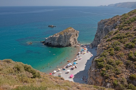 The beach of Kaladi during summer, Kithira island , Greece Stock Photo
