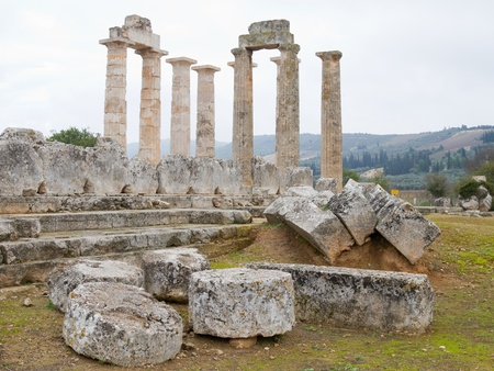The temple of Zeus in the ancient site of Nemea, southern Greece