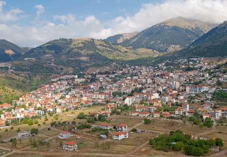 The mountain town of Karpenisi, in central Greece Stock Photo