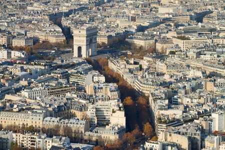 Arc de Triomphe: A view to the Arc de Triomphe area, Paris, from the Eiffel Tower Stock Photo