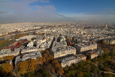 wideangle: A wide-angle view to a part of Paris from the Eiffel Tower