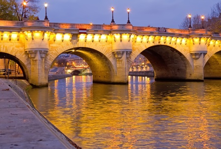 The beautiful Pont Neuf (Neuf Bridge) of Paris at dawn Stock Photo
