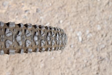 mountainbike: The tire of a mountain bike (narrow focus area)