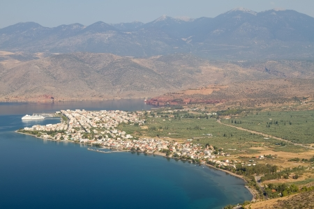 A view form above of the town of Itea and its olive groves (close to the ancient place of Delphi), central Greece photo