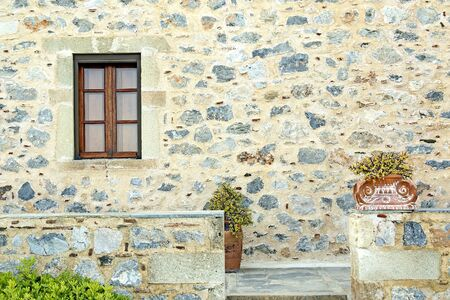 restored: Architectural detail of a restored old stone-made house in the historic castle-town of Monemvasia Stock Photo