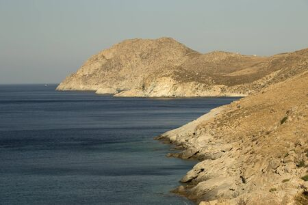 harsh: The harsh coastline of Serifos island, Greece Stock Photo