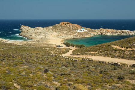 seashore: The beach of Agios Sostis in a little bay of Serifos island, Greece Stock Photo