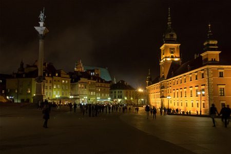 Nighttime at Plac Zamkowy in the old town of Warsaw, Poland