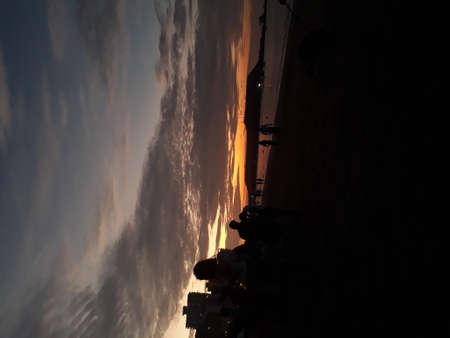 Sunset at the beach, you can see here a beach in ecuador, it is Salinas- Ecuador 版權商用圖片 - 155892690