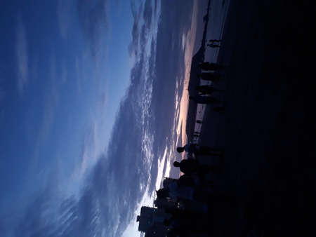 Sunset at the beach, you can see here a beach in ecuador, it is Salinas- Ecuador 版權商用圖片 - 155892821