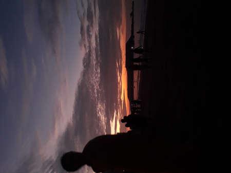 Sunset at the beach, you can see here a beach in ecuador, it is Salinas- Ecuador 版權商用圖片