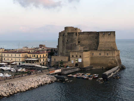 Views of Castel dell'Ovo (in English, Egg Castle) on the Gulf of Naples in Italy. Redakční