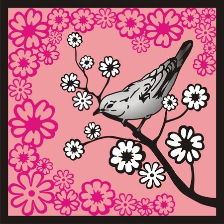 Bird sitting on a flowering branch. Vector