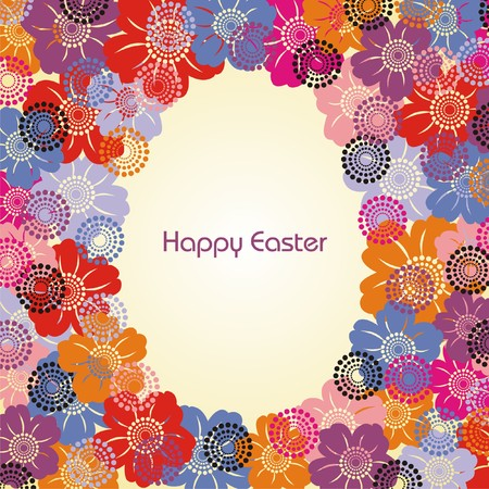 Postcard with Easter egg and colorful flowers. illustration.