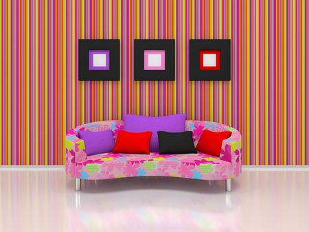 pink chair stand against the bright wall. Stock Photo