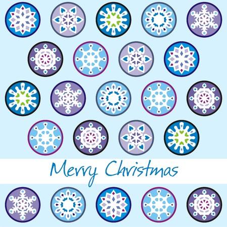 christmas postcard with blue snowflakes.   illustration Illustration