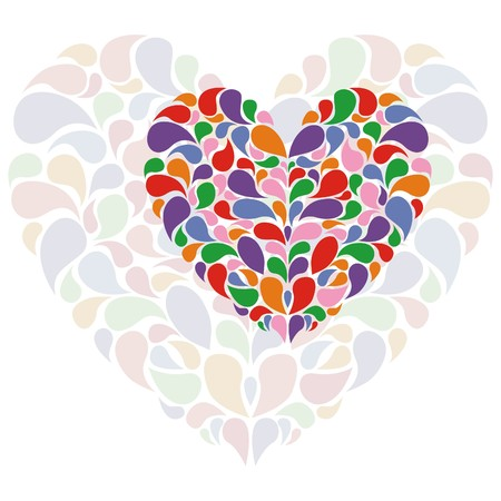 heart consist of colorful pattern on white background.  illustration