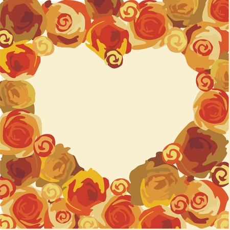 heart consist of beautiful flowers on yellow background. Vector illustration