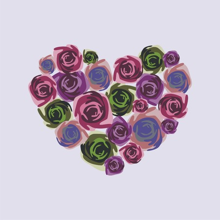 heart consist of colorful flowers