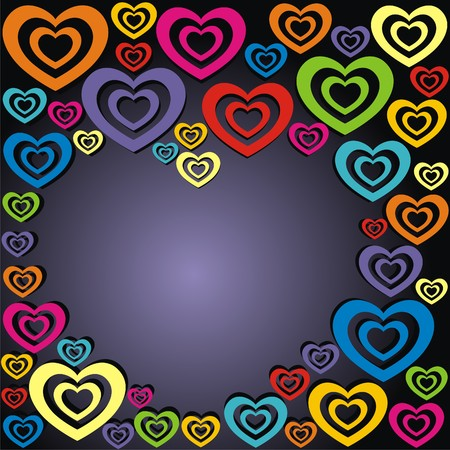 Heart consist of colorful hearts on black background