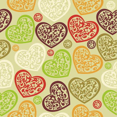 texture of colorful hearts on green background